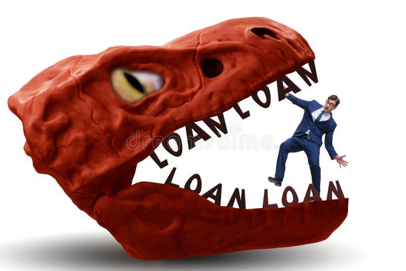 在债务和贷款的下颌的商人 图库摄影