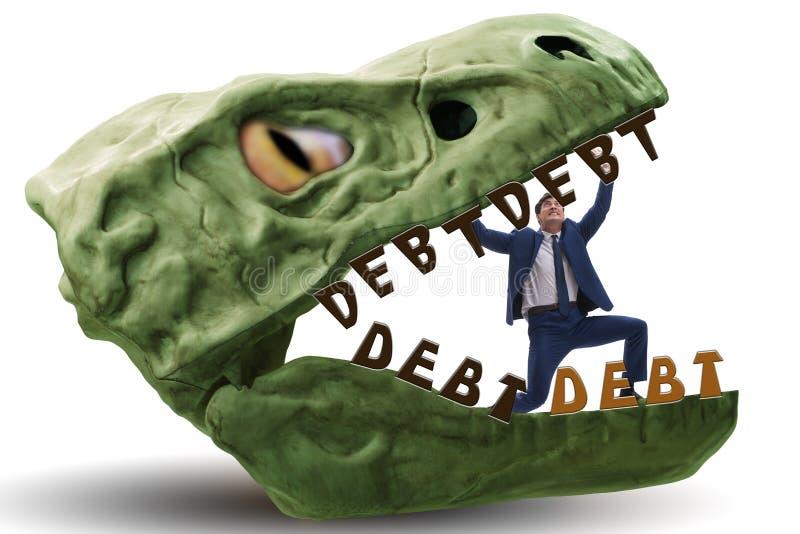 在债务和贷款的下颌的商人 库存图片