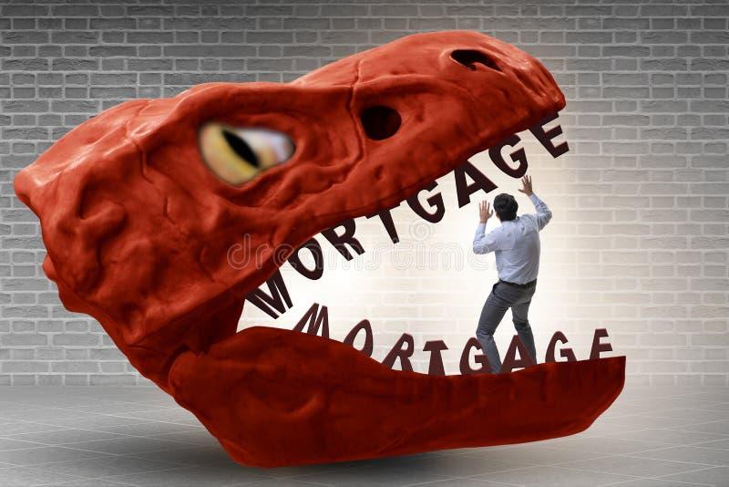 在债务和贷款的下颌的商人 库存照片