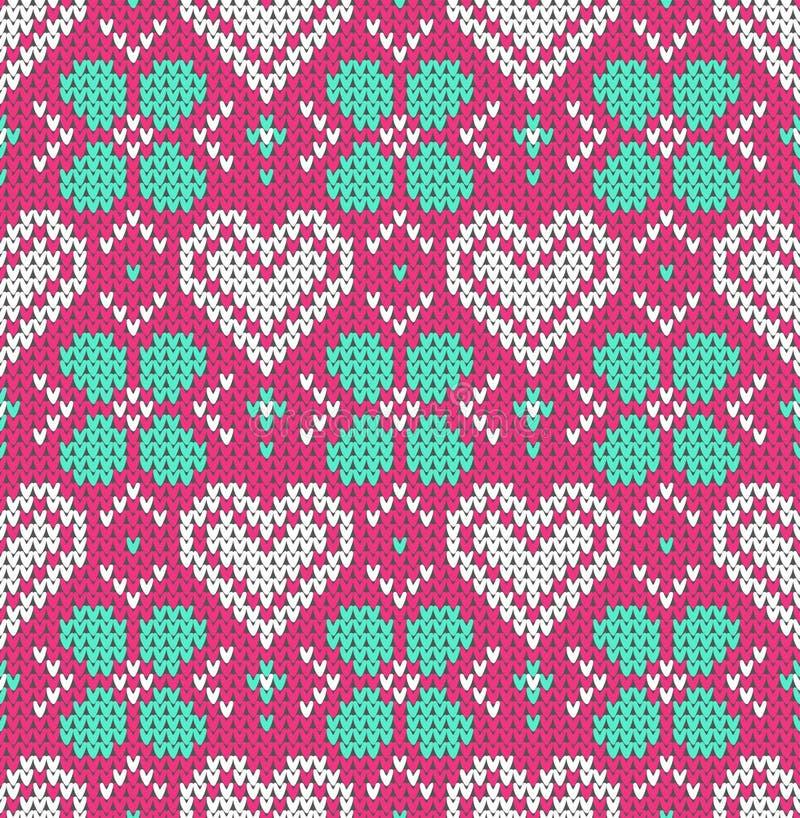 在假日华伦泰与挪威人和fairisle样式的图象的` s天题材的无缝的样式  在p的白色心脏 库存例证