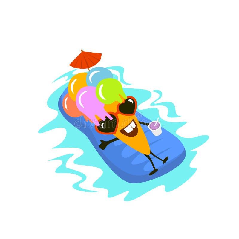 在假期游泳的愉快的逗人喜爱的动画片冰淇凌字符在可膨胀的床垫 向量例证