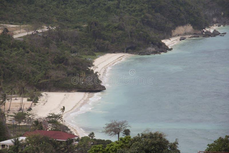 在偏僻的海滩的看法博拉凯海岛,菲律宾 免版税库存图片