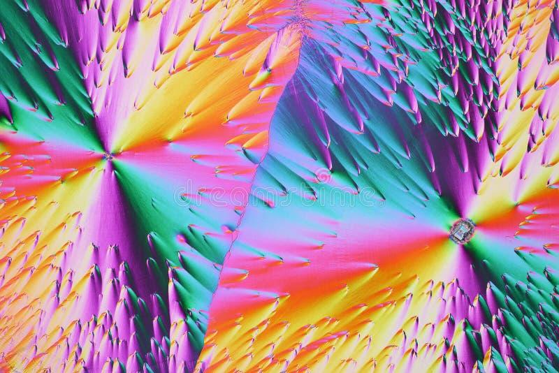 在偏光的五颜六色的微水晶 图库摄影
