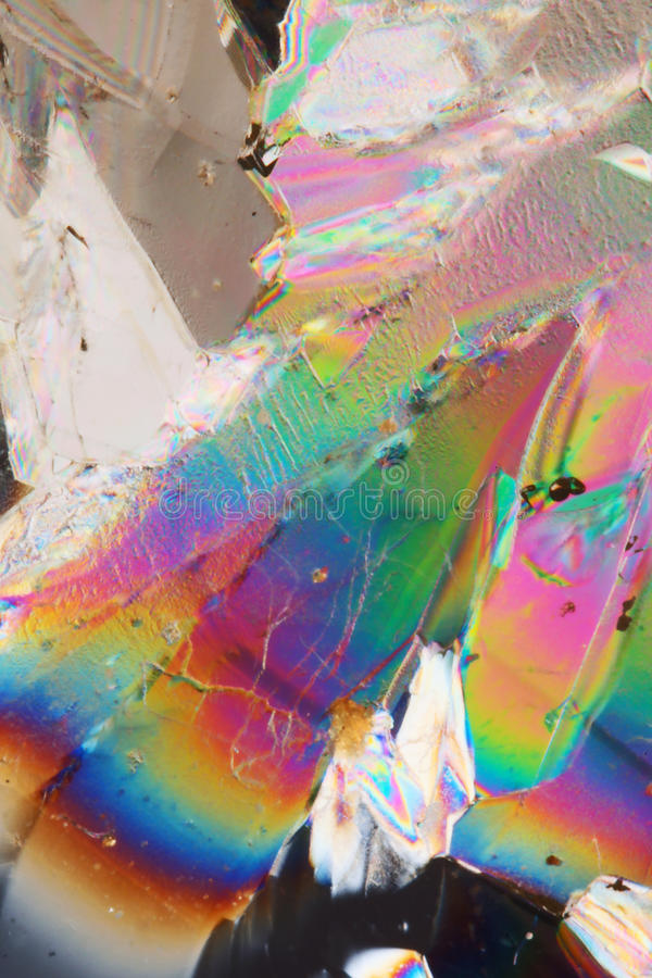 在偏光的糖水晶 免版税库存图片