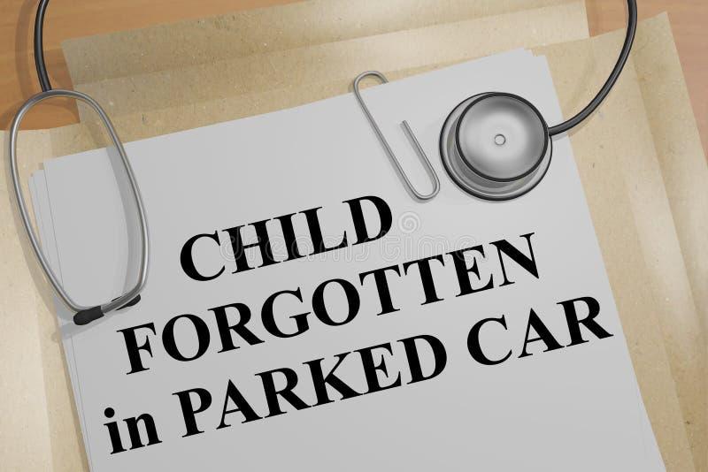 在停放的车的医疗概念忘记的孩子 皇族释放例证