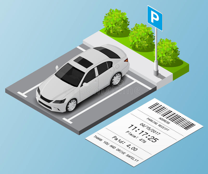 在停车场和违规停车罚单的等量例证汽车 免版税库存图片