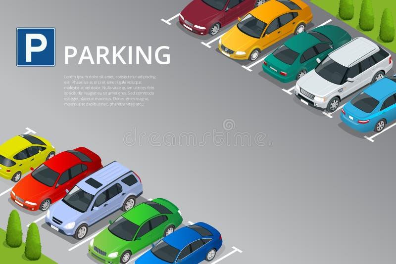 在停车场的等量传染媒介例证汽车 网的平的例证象 都市满足的岗位培训的运输 停车位 库存例证
