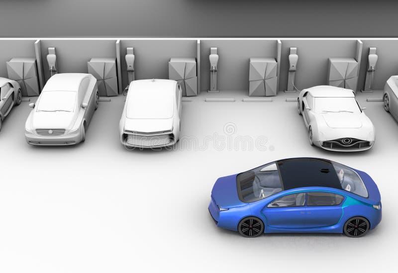 在停车场的蓝色汽车 其他汽车是黏土阴影模型 向量例证