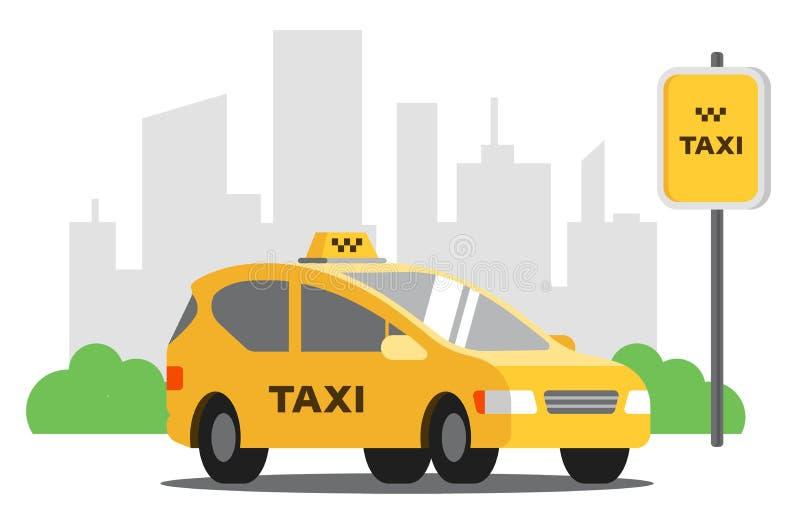 在停车场的黄色计程车车站在城市的背景 库存例证