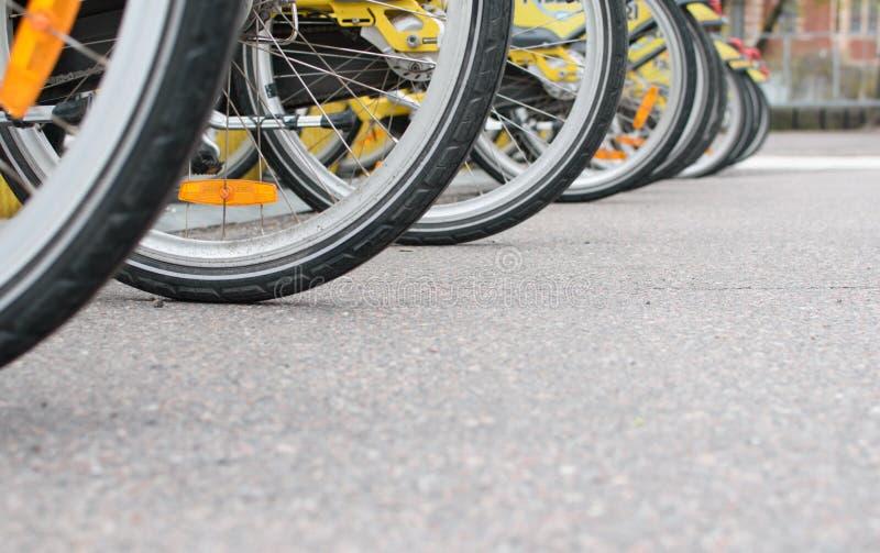 在停车处停放的许多自行车 库存照片