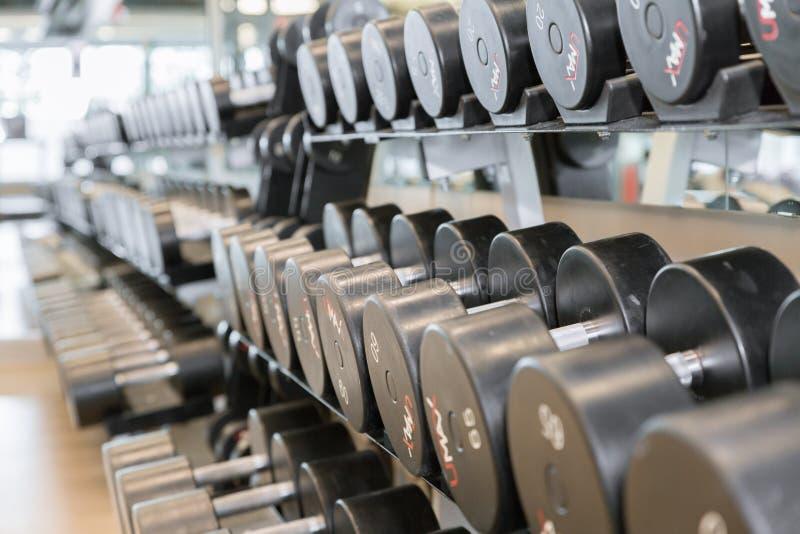 在健身房的哑铃自由重量 免版税库存照片