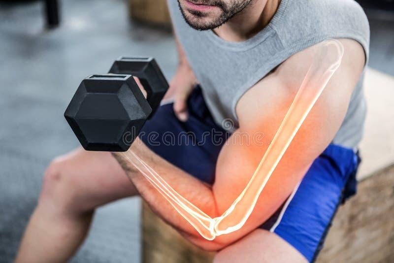 在健身房的大力士举的重量的被突出的胳膊 免版税库存图片