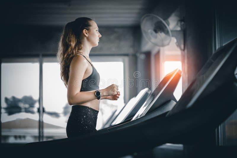 在健身房的少妇有吸引力的健身锻炼锻炼  免版税库存图片