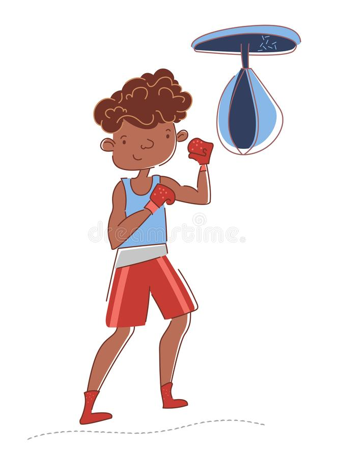 在健身房的拳击手训练 年轻美国黑人的运动员踢吊袋 男孩佩带的拳击手套 ?? 向量例证