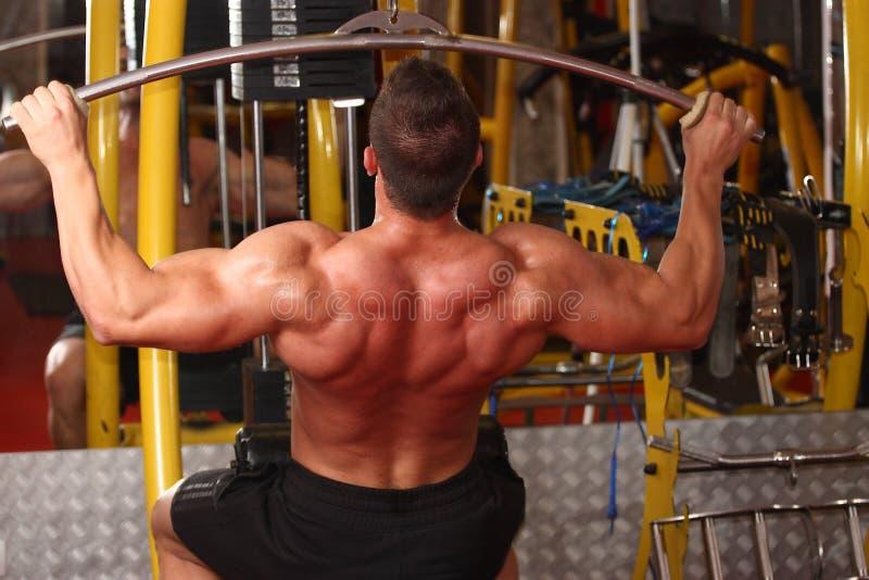 在健身房的肌肉人训练 库存照片