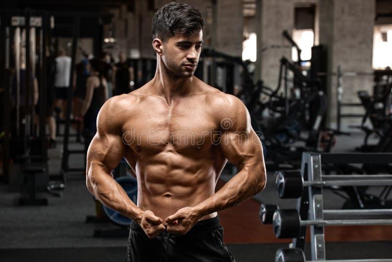 在健身房的肌肉人锻炼 强的男性赤裸躯干吸收 免版税库存图片