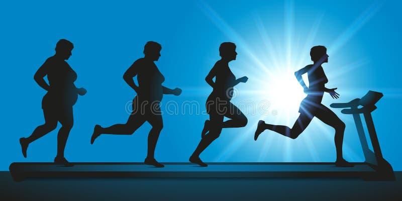 在健身房,妇女演奏在踏车的体育逐渐丢失重量 库存例证