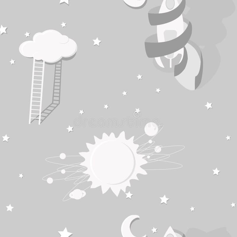 在儿童` s空间题材、梦想,天空和太阳的一个无缝的样式 图库摄影