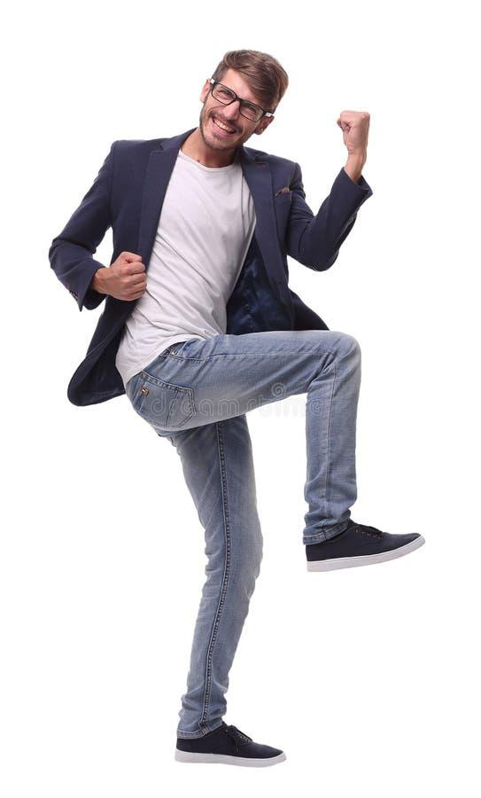 在充分的成长 跳舞的愉快的商人 库存照片
