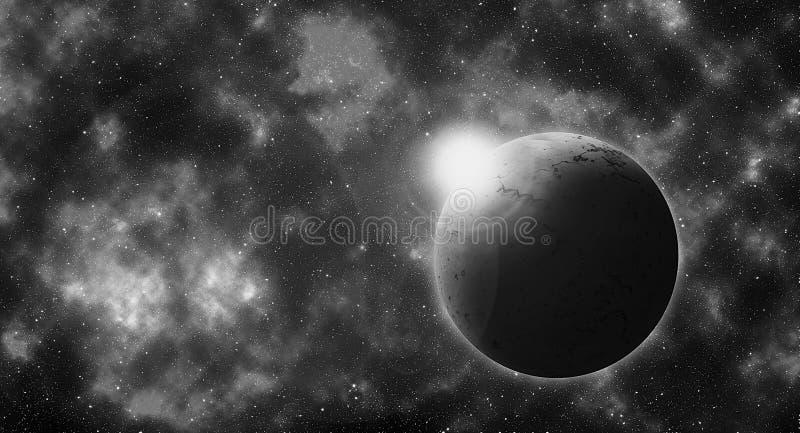 在充分的星天空的圆的行星 向量例证