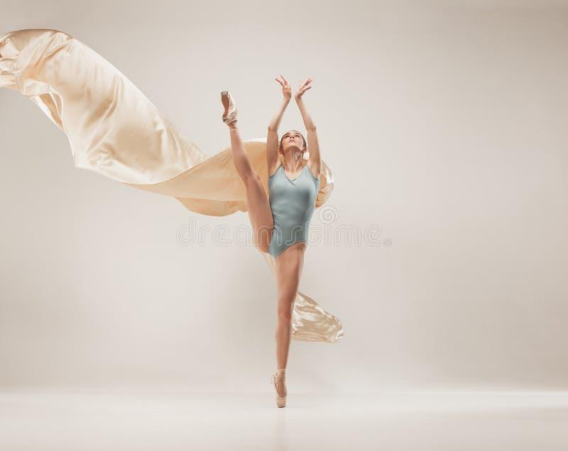 在充分的身体的现代跳芭蕾舞者跳舞在白色演播室背景 库存图片