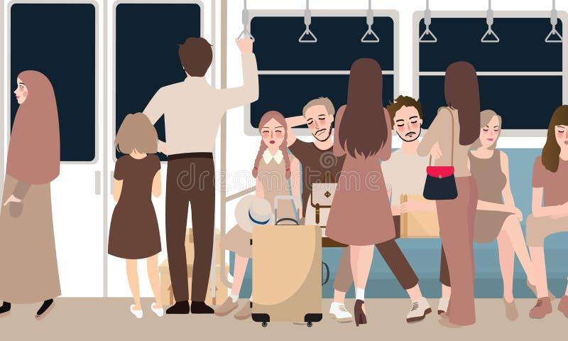 在充分繁忙的火车乘客通勤者站立的和坐的人民里面 库存例证