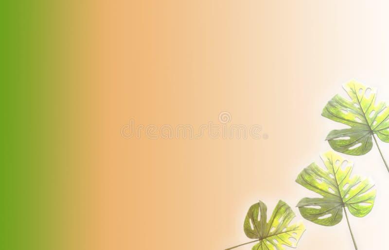 在充满活力的大胆的梯度全息照相的霓虹颜色的热带和棕榈叶 r 最小的超现实主义背景 库存照片