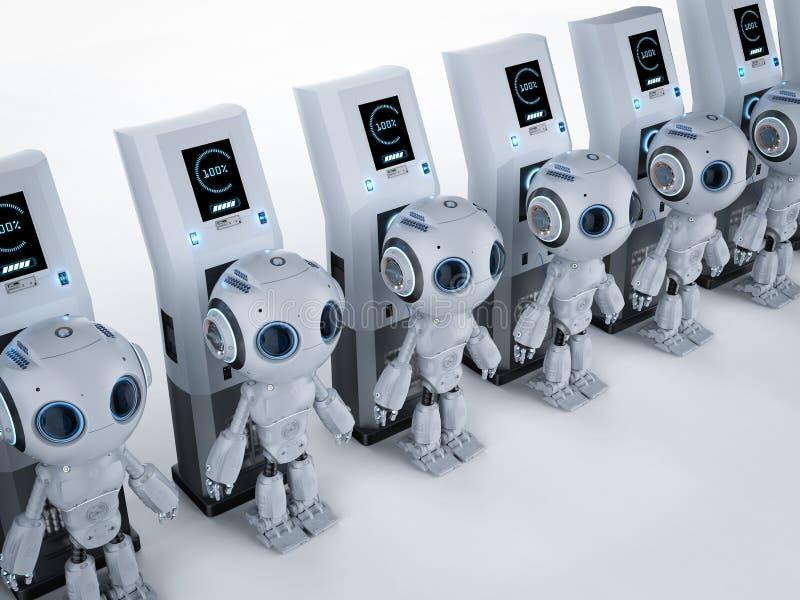 在充电站的机器人 库存例证