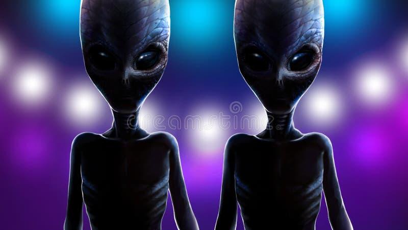 在光太空飞船背景的两外籍人孪生  库存例证