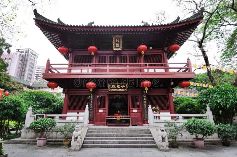 在光孝寺复合体的寺庙大厦,广州,奇恩角 图库摄影