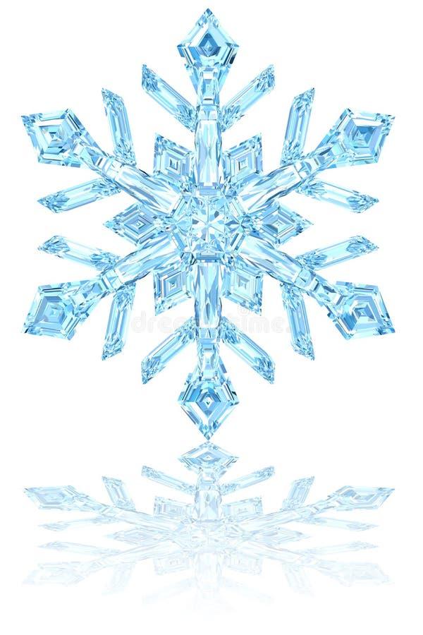 在光滑的白色的浅兰的水晶雪花 向量例证