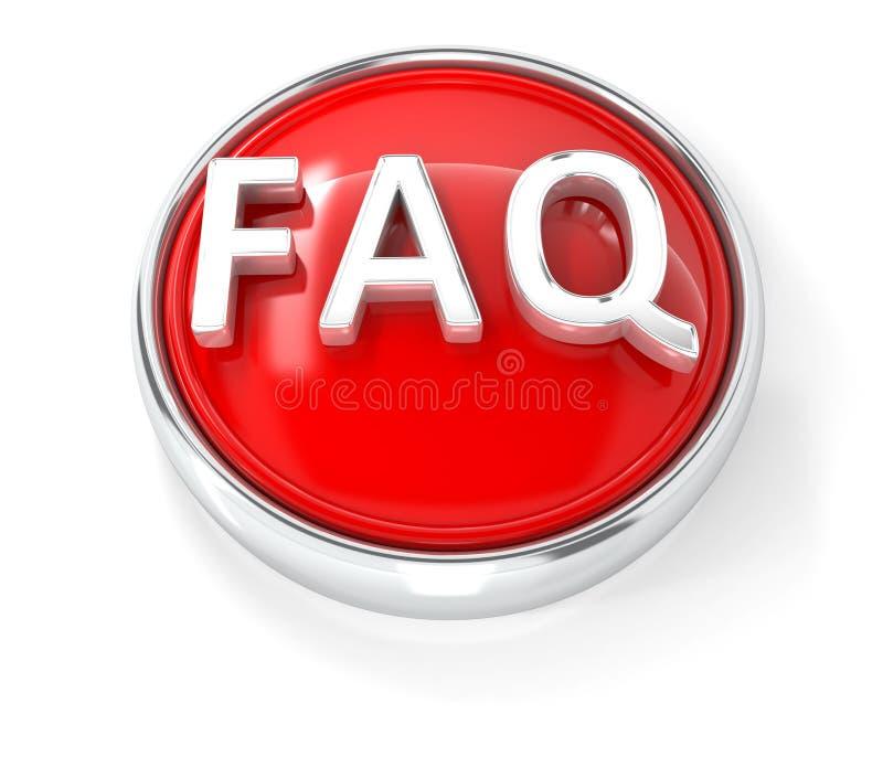 在光滑的红色圆的按钮的常见问题解答象 向量例证