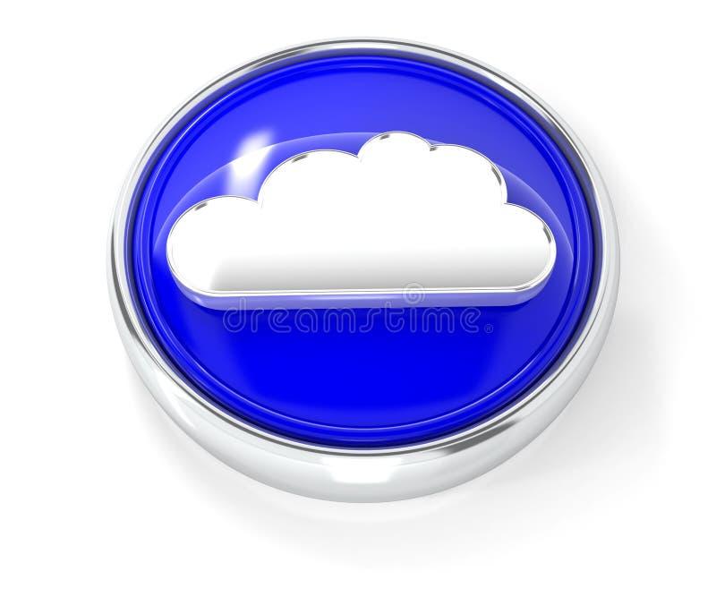 在光滑的蓝色圆的按钮的云彩象 库存例证