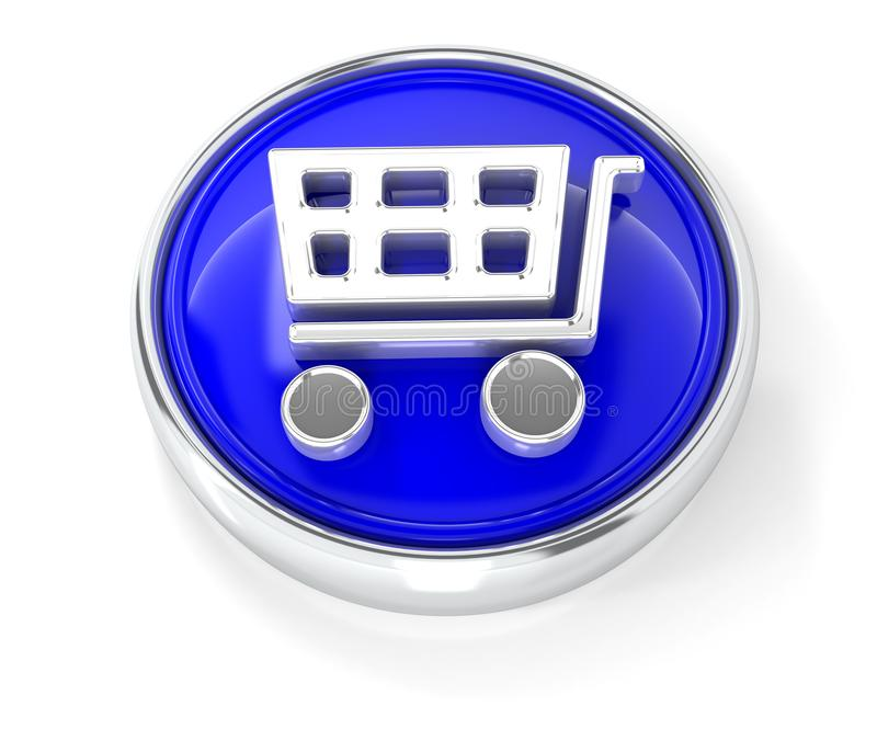 在光滑的蓝色圆的按钮的手推车象 皇族释放例证