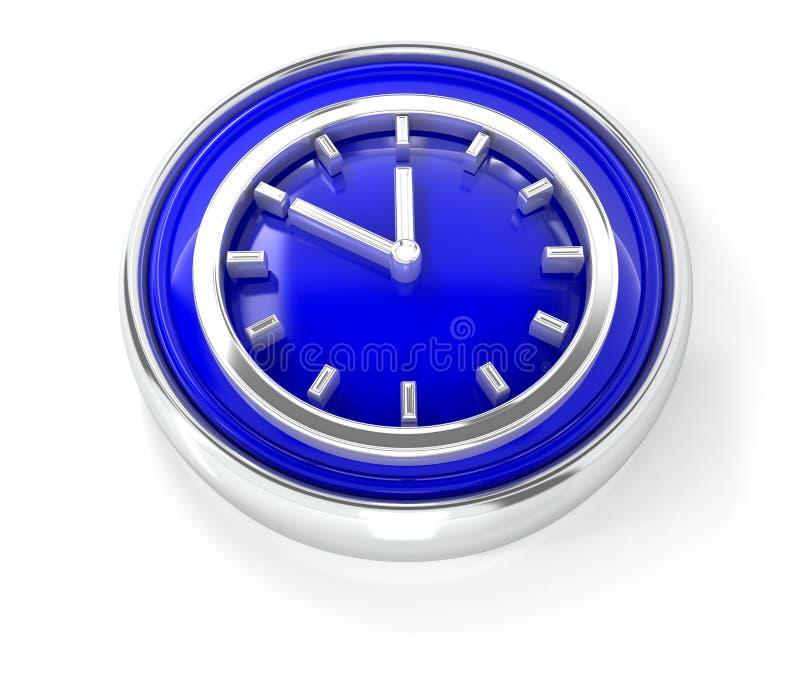 在光滑的蓝色圆的按钮的手表象 向量例证