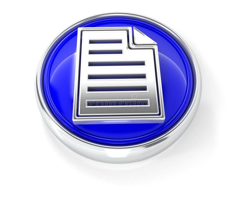 在光滑的蓝色圆的按钮的页象 库存例证