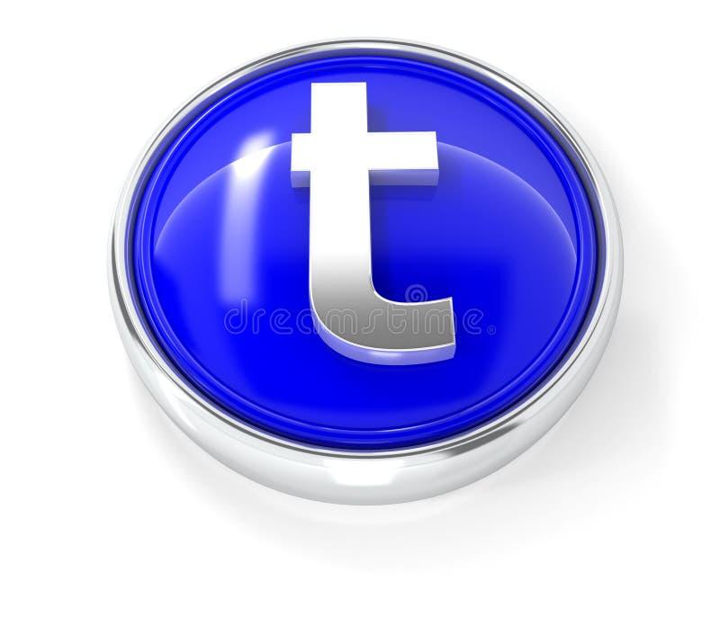 在光滑的蓝色圆的按钮的T象 皇族释放例证