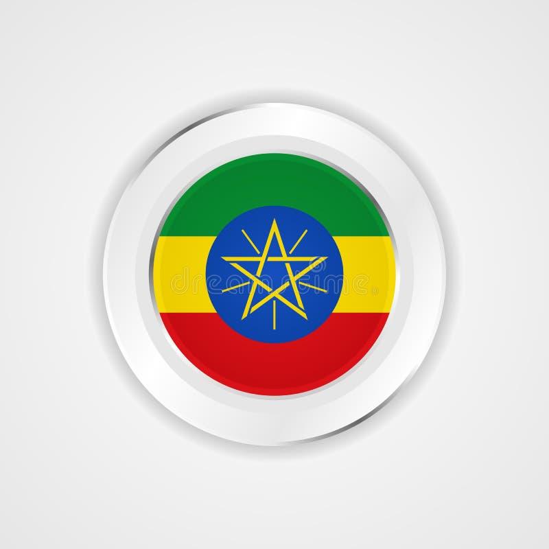 在光滑的象的埃塞俄比亚旗子 向量例证
