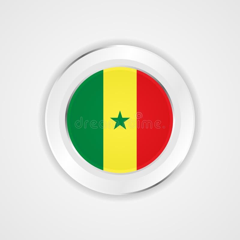 在光滑的象的塞内加尔旗子 向量例证