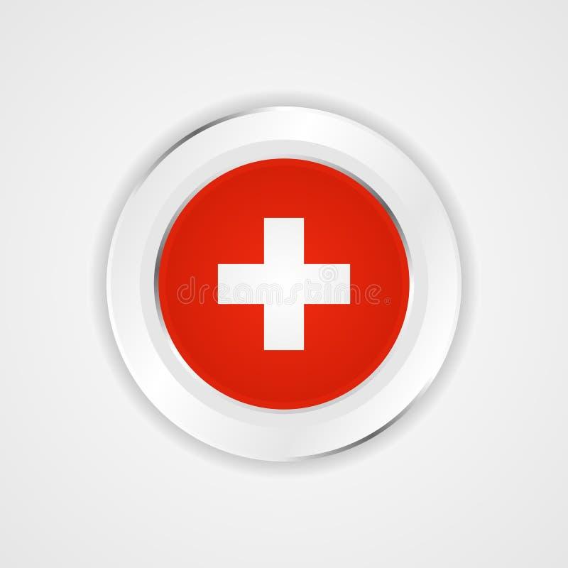 在光滑的象的瑞士旗子 库存例证
