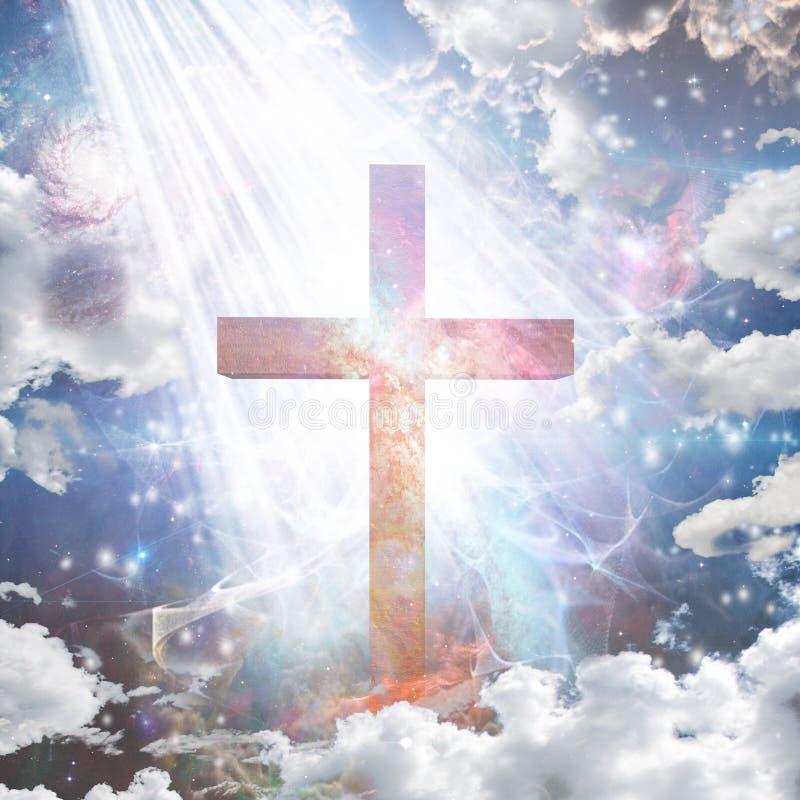 在光的十字架 向量例证
