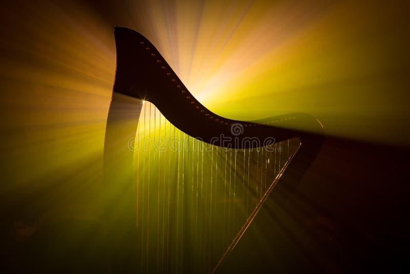 在光的电镀竖琴 免版税库存照片