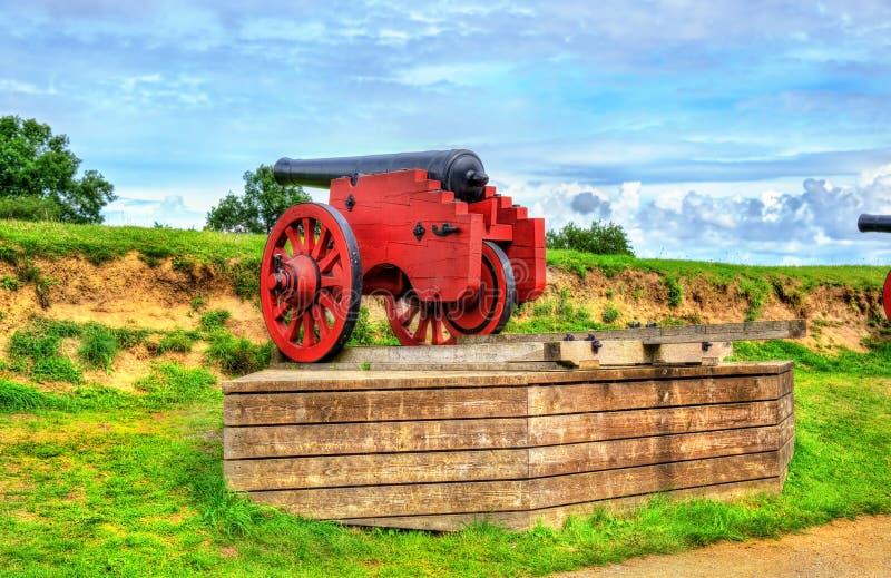 在克伦堡城堡的老大炮在赫尔新哥,丹麦 库存照片