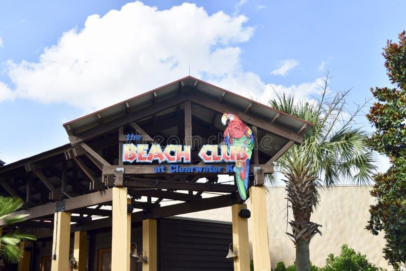 在克利尔沃特,喷泉秋天的海滩俱乐部浇灌公园,乔克托人,密西西比 免版税库存照片