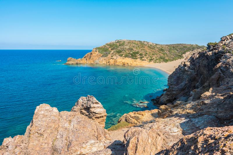 在克利特海岛希腊,Vai海滩上的自然风景 库存图片