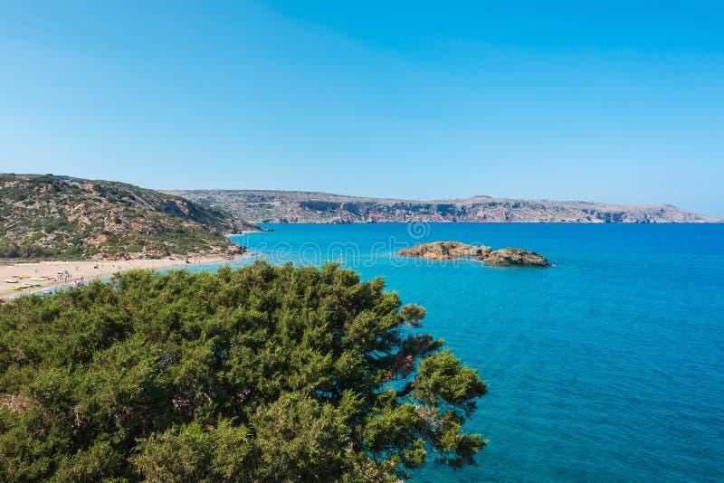 在克利特海岛希腊,Vai海滩上的自然风景 免版税图库摄影