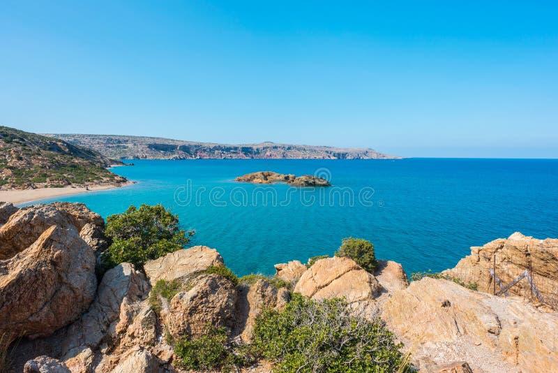 在克利特海岛希腊,Vai海滩上的自然风景 免版税库存照片