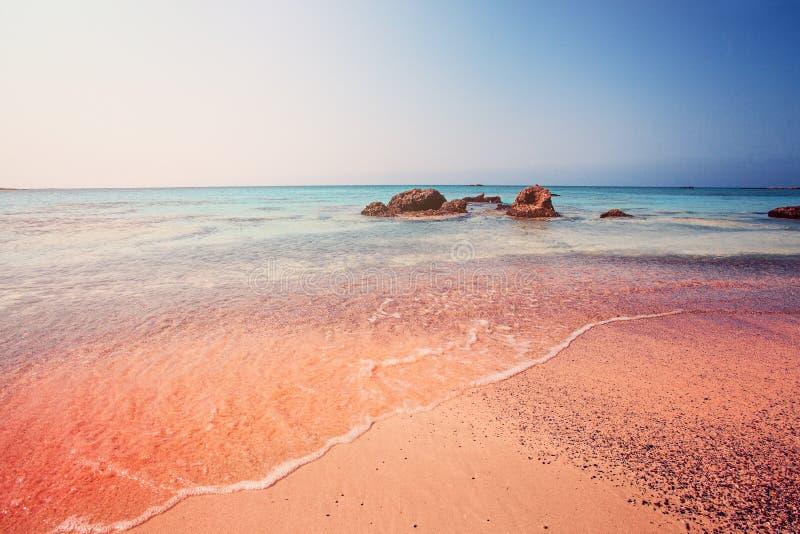 在克利特,希腊的令人惊讶的Elafonissi海滩 库存照片