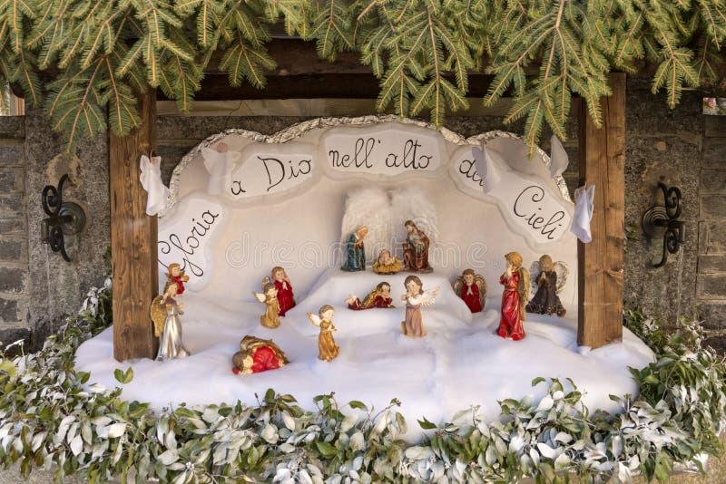 在克罗多, Ossola的小诞生场面 库存照片