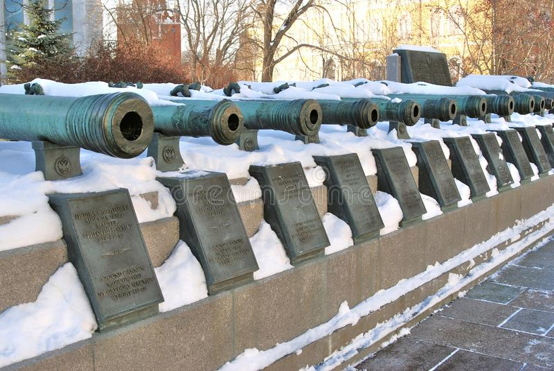 在克里姆林宫显示的老大炮 科教文组织世界遗产站点 库存图片